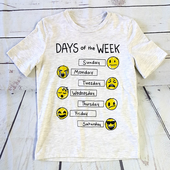 787d47b27 Jumping Beans Other - Jumping Beans gray emoji Days of the Week t shirt